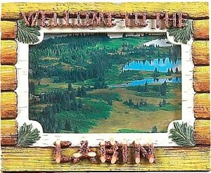 Picture-Frame-Welcome-to-the-Cabin-Polyresin-4in-x-6in-handpainted-new