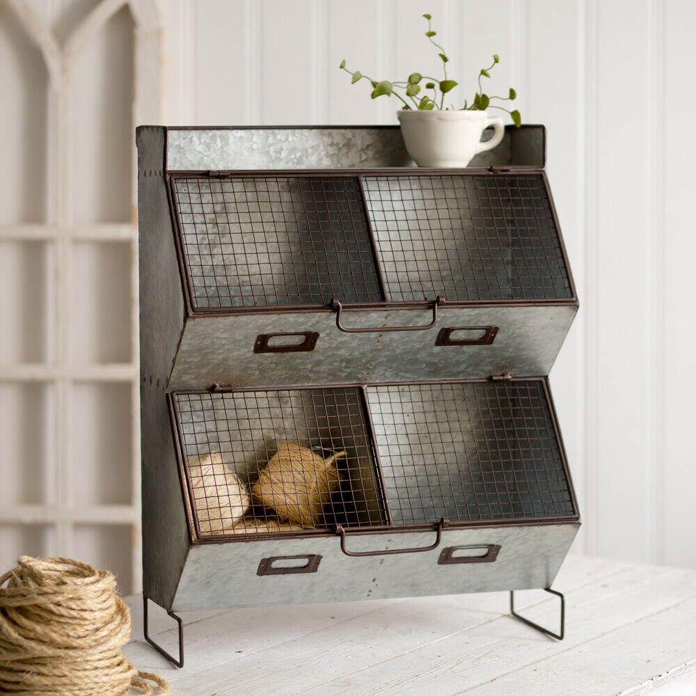 Farmhouse FOUR BIN WALL ORGANIZER With WIRE MESH LIDS Country Rustic Primitive