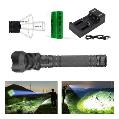 Zoomable XHP70.2 LED 12000Lumens Super Bright Flashlight Torch USB Rechargeable