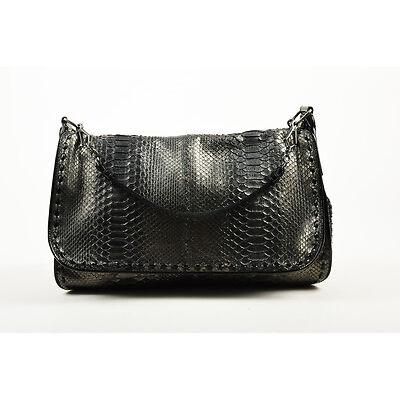cd8de2545a25 Bottega Veneta Black Gunmetal Metallic Python Leather Shoulder Messenger  Bag