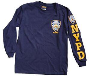 Nypd Enfants Unisexe Bleu Marine T-shirt Manches Longues Avec Jaune Manches Imprimer Et La Poitrine-afficher Le Titre D'origine