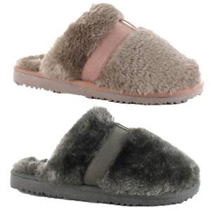 11595d2897689 Womens Girls Ella Shoes Jenny Faux Fur Mule Slippers Memory Foam ...