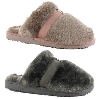 House of Slippers JENNY Ladies Womens Faux Fur Warm Slip On Mule Slippers Beige