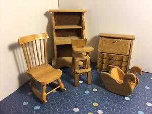 Super Details About Dollhouse Furniture Lot 5 1 12 Wood Swan Rocking High Chair Shelf Dresser Dh2C Ncnpc Chair Design For Home Ncnpcorg
