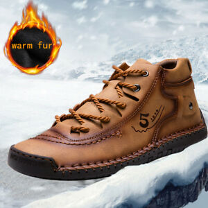Men-039-s-Waterproof-Leather-Winter-Hiking-Boots-Outdoor-Snow-Warm-Fur-Inside-Shoes