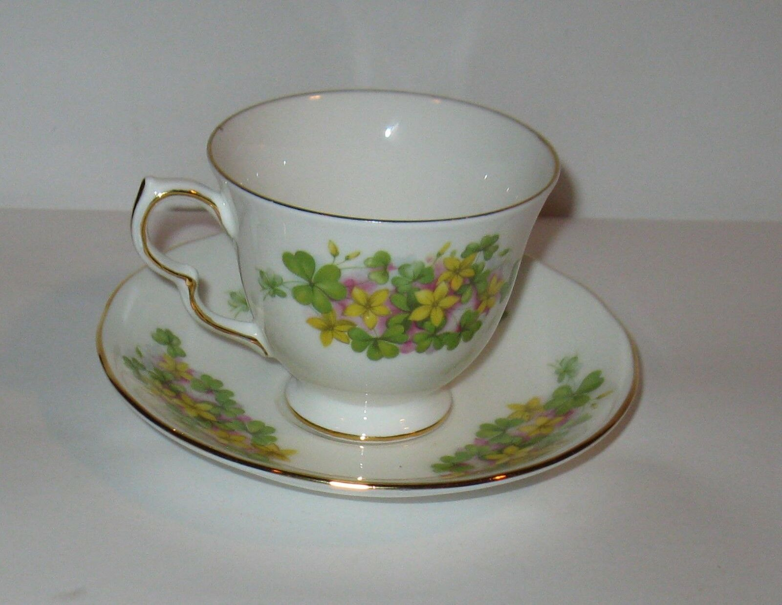 Vintage Queen Anne Cup & Saucer With Flowers   FREE SHIPPING