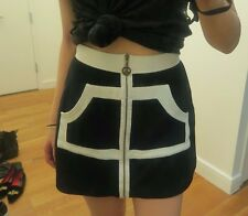 Vintage Moschino Black and White Skirt 24 Peace Sign Zipper