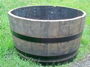Half Oak Barrel Planters 29 72cm Diameter Painted Bands