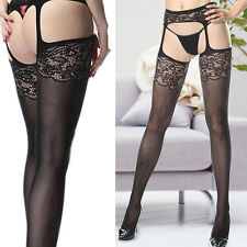 Suspender Garter Sheer Scalloped Stocking Tight Floral Lace Thigh-High Pantyhose