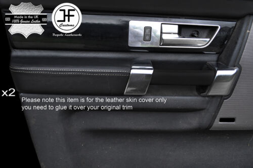 GREY STICH 2X FRONT DOOR ARMREST LEATHER COVERS FITS LAND ROVER DISCOVERY 4