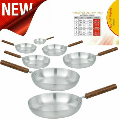 TRADITIONAL ALUMINIUM FRYING PAN WOODEN HANDLE CHEF/'S SKILLET CURRY FRY PANS