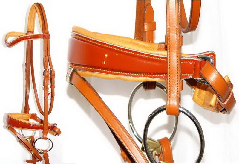 FSS NEWMARKET TAN Curve Comfort German Comfort Curve Orange PATENT GLOSS Square Swelled Bridle 447421