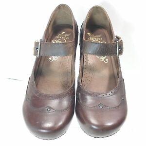 Women-Dansko-40-Mary-Jane-Strap-Block-Heel-Leather-Shoes-Brown-Size-9-5-US