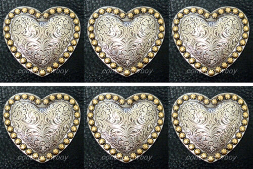 Set of 6 WESTERN HORSE TACK ANTQIUE HEART GOLD BERRY SADDLE CONCHOS 1-1/4