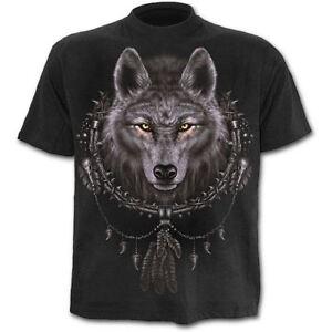 Spiral-Direct-Wolf-Dreams-Dreamcatcher-Indian-Black-Short-Sleeved-Tshirt-Top