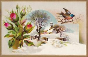 Victorian Trade Card Bird Rose Winter Scene Jersey Coffee Dayton Spice Mills X
