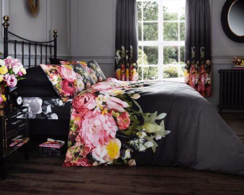 Nouveau Noir Multi Floral Fleurs Imprimé Literie Housse de couette taies d/'oreiller toutes tailles
