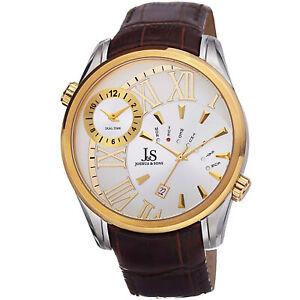 New-Men-039-s-Joshua-amp-Sons-JS72YG-Quartz-Dual-Time-Brown-Genuine-Leather-Watch