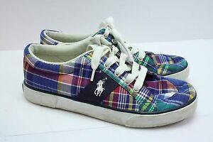 240d95f297f2 Polo Ralph Lauren Madras Plaid Canvas Deck Boat Shoes Mens Sz 5-1 2 ...