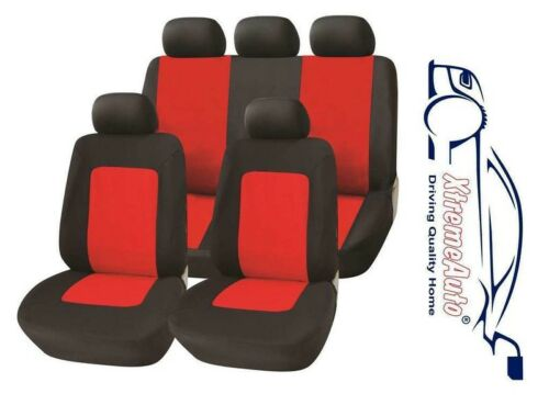11 PCE Glastonbury Grey//Red Car Seat Covers For Peugeot 107 206 207 208 308 40