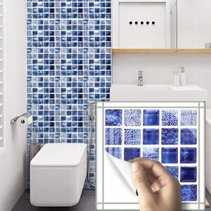 Détails sur 6 Pcs 3D bleu mosaïque auto-adhésif salle de bain cuisine déco  mural Escalier Tuile Autocollant- afficher le titre d\'origine