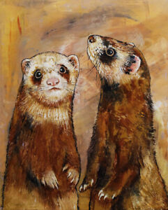 FERRETS-16x20-034-Oil-Painting-Animals-Weasel-Sable-Pets-Two-Original-Art-M-Creese