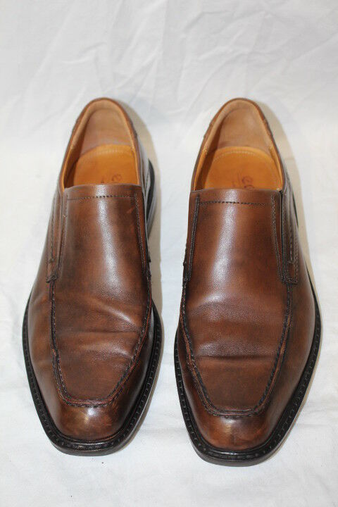 ECCO Brown Leather Slip On Shock Point Casual Shoes Mens Size 42/ US 8.5-B128
