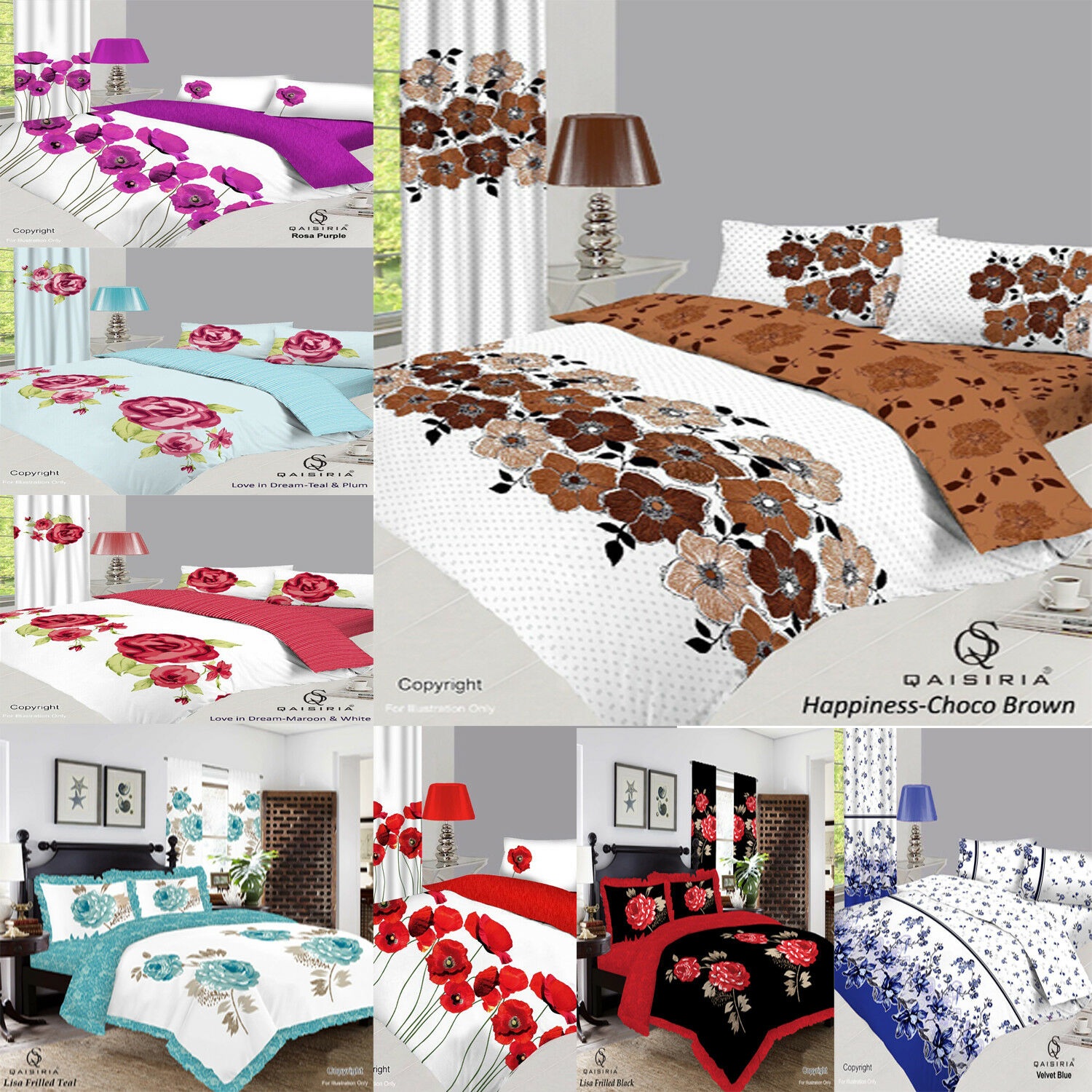 Elements Duvet Cover Set with Pillowcases Cushion Cover and Curtains Bumper Set