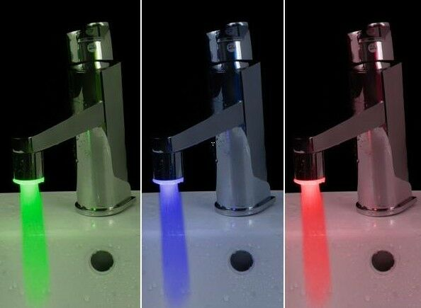 new style Temperature Sensor LED Light Water Faucet Tap 3 Color RGB Glow Shower