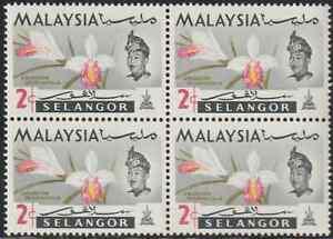 MALAYSIA SELANGOR 1965 ORCHIDS 2c B/4 MNH