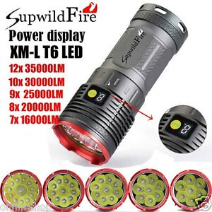 Supwildfire-35000LM-12-x-XM-L-T6-LED-Power-Digital-Display-Hunting-Flashligt-NEW