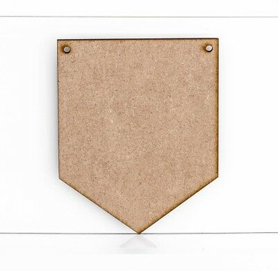 Wooden MDF Shield Flag Shape Craft Embellishment Wall Plaque Sign 3mm Thick