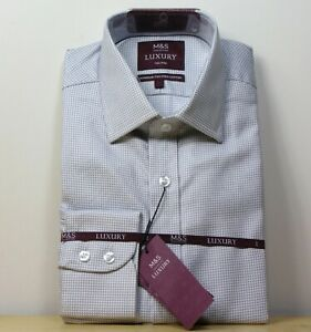 """rrp £45 M/&S LUXURY Superior COTTON Tailored Fit SHIRT ~ Size 19/"""" ~ GREY Mix"""