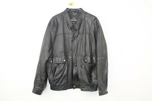Mens-St-Michael-Black-Leather-Jacket-size-L-No-Z48-01-5