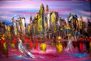 NEW YORK CITY ABSTRACT  Original Oil Painting canvas IMPRESSIONIST   KAZAV G7P