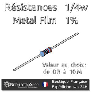 Lot de 20 Resistances 1//4W 1/% Métal 170 valeurs Valeur au choix
