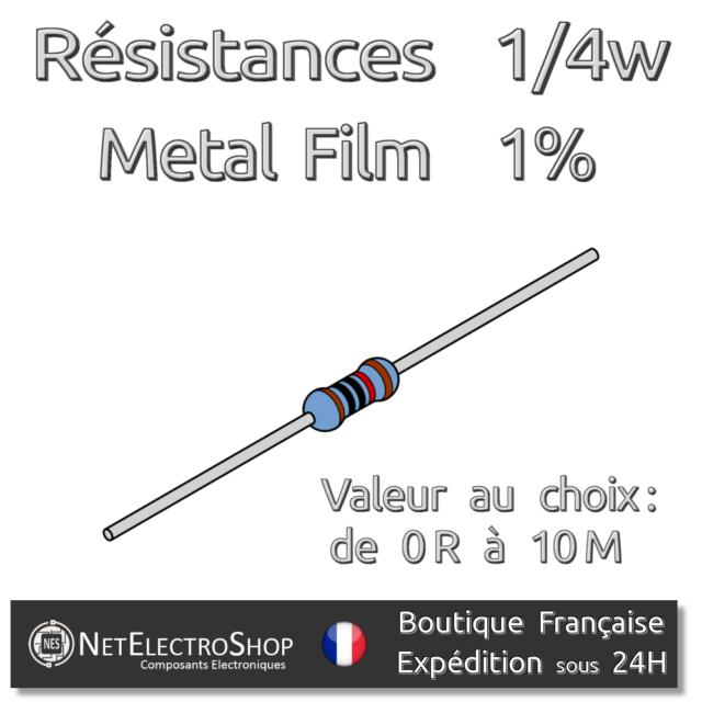 Lot de 20 Resistances 1/4W 1% Métal - Valeur au choix (170 valeurs)