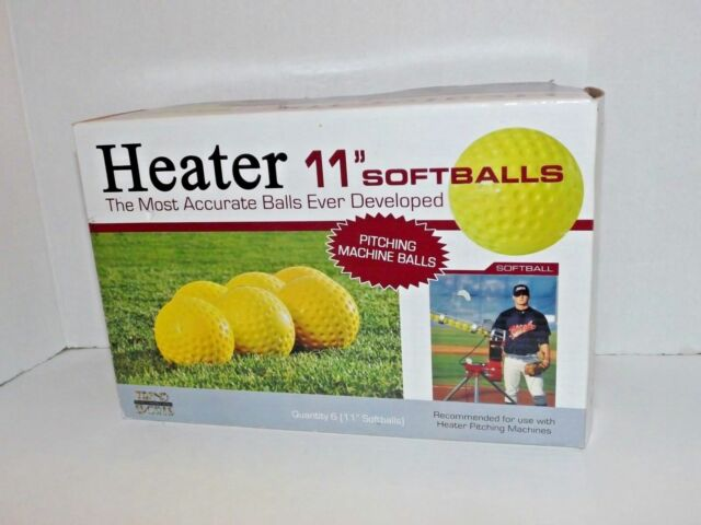 "Box Of 6 Heater 11"" Inch Pitching Machine Softballs New Yellow Trend Sports (c)"