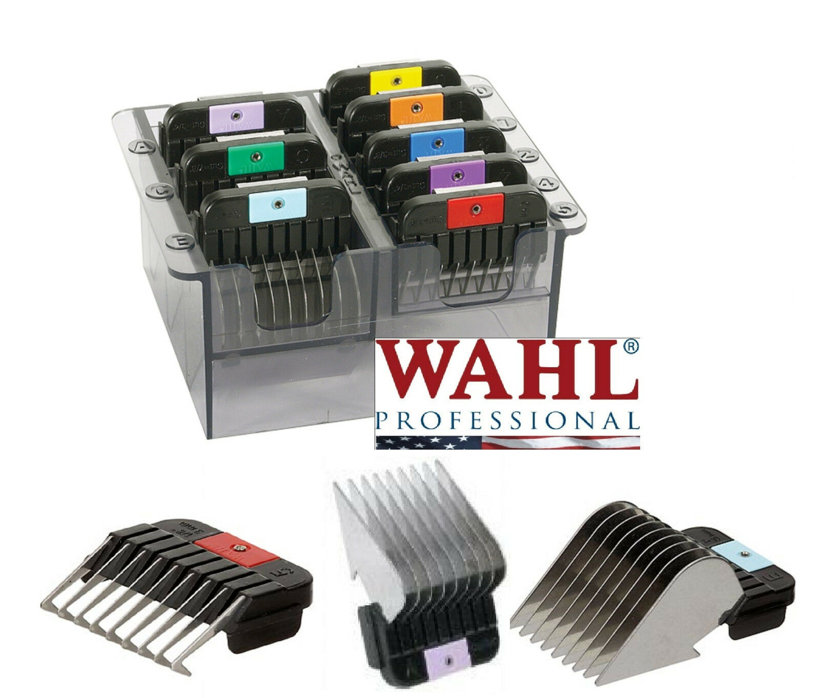 Wahl StainlessSteel SNAP ON Blade Guide COMB 8pc SET*Fit A5,Andis AGC Clippers