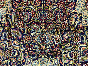 10x13-BLUE-ANTIQUE-PERSIAN-RUG-HAND-KNOTTED-WOOL-ORIENTAL-RUGS-navy-green-9x12
