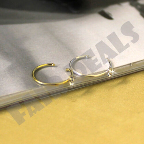Small Thin Silver Gold Size Ajustable 3 Crystals Diamante Nose Hoop Ring Stud
