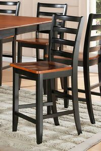 Details about Set of 2 Fairwinds counter height bar stool chairs plain wood  seat cherry black
