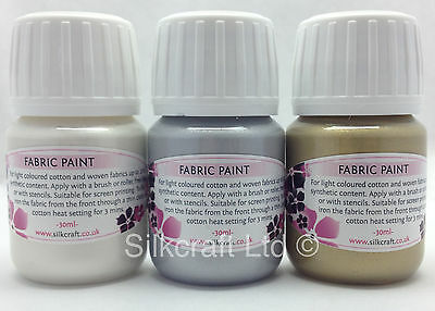 Set of 3 Metallic fabric paints  x 30ml bottles - QUALITY - gold, silver, white