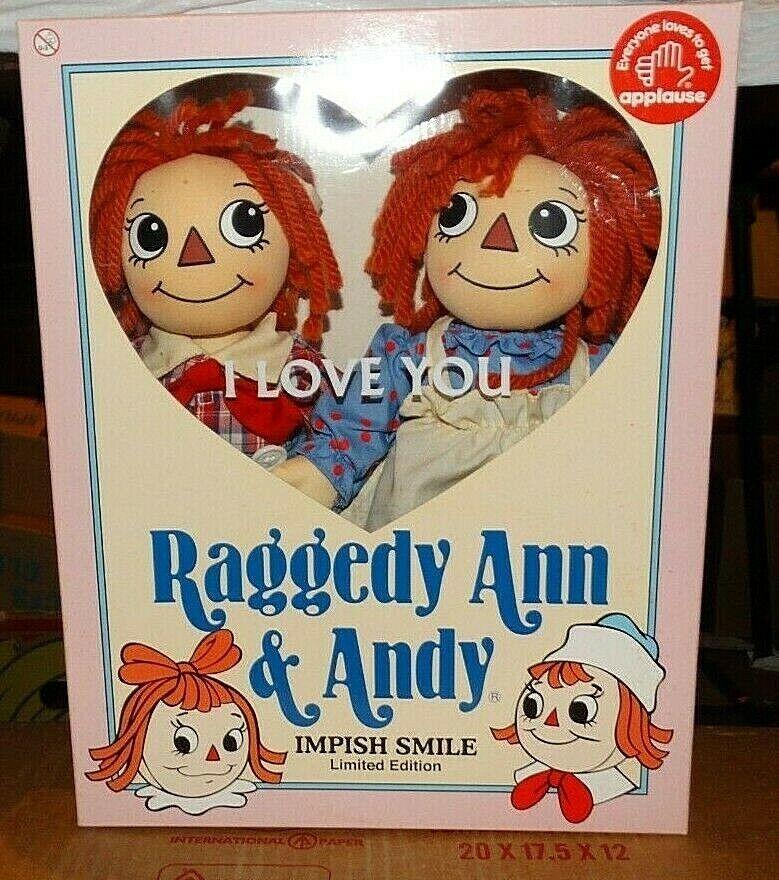 Nuevo Vintage Raro 2002 Raggedy Ann & Andy Impish sonrisa juego de muñeca edición limitada