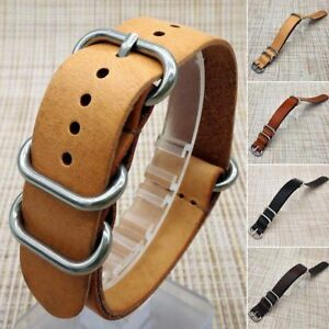 New-Mens-Genuine-Leather-Army-Military-Buckle-Watch-Strap-Band-18mm-20mm-22mm