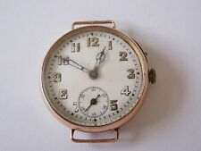 1919 9ct Rose Gold officers trench watch, Stauffer, found in an old estate