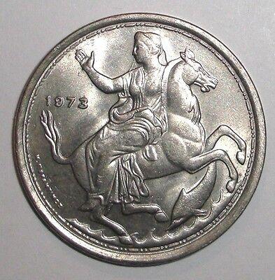 1973 Greece 20 drachmai animal wildlife coin Moon Goddess Selini on Horse