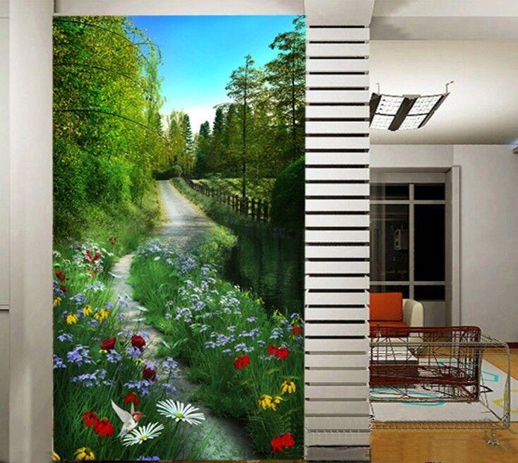 3D Schöne blumen am Fluss 030 Fototapeten Wandbild Fototapete BildTapete Familie
