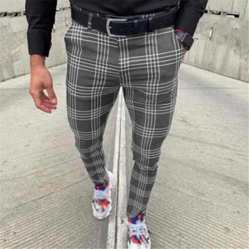Mens Plaid Printed Casual Trousers Joggers Jogging Slim Fit Skinny Long Pants