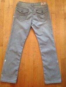 True-Religion-Women-039-s-Billy-Gray-Splatter-Straight-Leg-Stretch-Jeans-Size-31